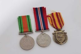Group of three medals comprising Second World War Defence medal, Second World War medal named to V83