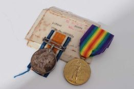 First World War pair comprising War and Victory medals named to 107248 Pte. R. Morris. M.G.C. togeth