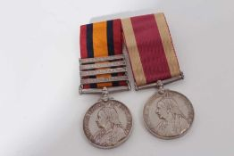 Victorian medal pair comprising Queen's South Africa medal with four clasps- Cape Colony, Paardeberg