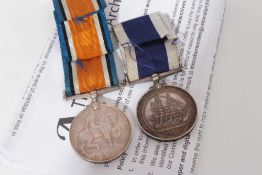 First World War War medal named to PLY. 5332 C.G. Pike. CR. SGT. R.M. together with a George V Naval