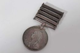 Queen's South Africa medal with four clasps- Cape Colony, Laing's Nek, Belfast and South Africa 1902