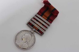 Queen's South Africa medal with four clasps- Cape Colony, Orange Free State, Johannesburg and South