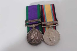 Elizabeth II medal pair comprising 1962 type General Service medal with one clasp- Northern Ireland