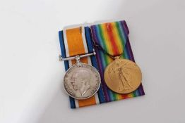 First World War pair comprising War and Victory medals named to P.O. 2001 -S- Pte. W. Jordon. R.M.L.