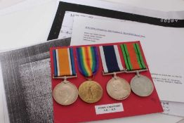 First World War and later medal group comprising War and Victory medals named to 191060 S. Masters.