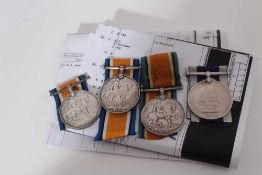 Group of four First World War medals comprising three War medals named to PO-1033-s- Pte. R. Gilbey.