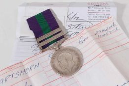 George V General Service medal with two clasps- Kurdistan and Iraq, named to 294246 GNR. C. Hartshor