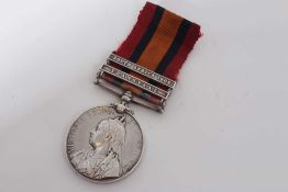Queen's South Africa medal with two clasps- Transvaal and South Africa 1902, named to 5689 Pte. W. G