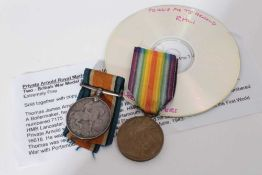 First World War pair comprising War and Victory medals named to P.O. 16618 PTE. T. J. Arnold. R.M.L.