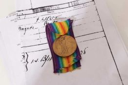 First World War Victory medal named to Lieut. L.A.A. Tollemache, together with printed research