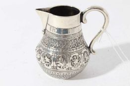 Victorian silver Indian Mughal style milk / cream jug embossed with nine signs of the Zodiac, each w