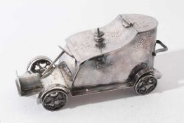 Unusual early 20th century novelty silver plated biscuit box in the form of a vintage car, base stam