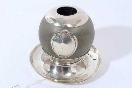 Victorian silver mounted globular match holder / Vesta globe on circular silver base, (London 1896),