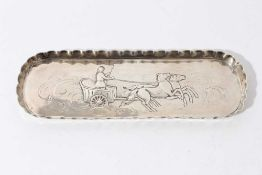 Victorian silver pen tray of oval form with chased decoration and pie crust border (London 1881), ma