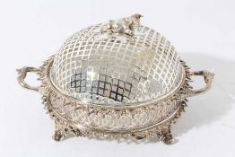 Good quality late Victorian silver plated butter dish with pierced cover surmounted with a cow