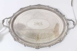 Late Victorian silver plated two handled oval tray with shell and gadrooned border, by the Goldsmith