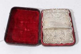 A fine Victorian silver Crystal Palace card case in original leather covered fitted case