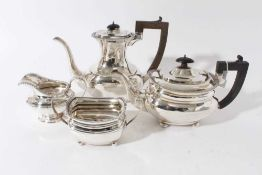 George V silver and silver plated composite four piece tea and coffee set- comprising teapot of comp
