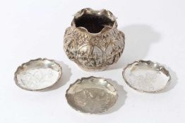 Group of three early 20th century Chinese Export silver pin dishes of circular form, with engraved d