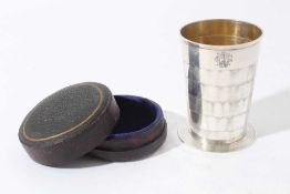 Late Victorian Silver collapsible cup of tapered cylindrical form with engraved initials on reeded c