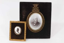 Victorian memorial portrait photograph of an Earl in black enamel and gilt metal oval mount with Ear