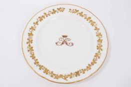 Victorian porcelain armorial dinner plate finely painted with Ducal coronet and double S monogram wi