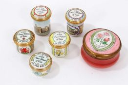 Five Halcyon Days enamel Royal commemorative pots and one other (6)