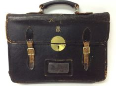 1950s/1960s Queen Elizabeth II Government black leather briefcase with gilt tooled crowned ER II roy