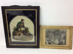 Fine Victorian silk and woolwork embroidered picture depicting H.R.H. Prince Albert with fishing equ