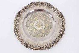 Baron de Rothschild, exceptional quality French silver and gilt plate with Rothschild crest