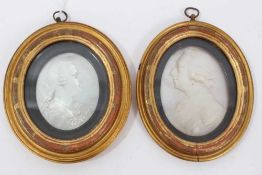 George III carved mother o pearl portrait plaques