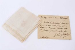 H.I.H.The Empress Eugenie of France - a fine silk handkerchief finely embroidered to corner with Cro