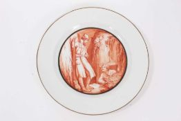 Rare Soviet Russian Revolution propaganda plate, finely painted in sepia with two Soviet soldiers in