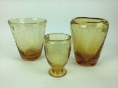 Three Whitefriars Amber controlled bubble vases including one with original Whitefriars label, 18cm,