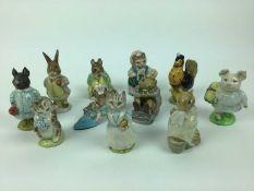 Eleven Beswick Beatrix Potter figures - Pig-Wig, Mr Jackson, Mr Benjamin Bunny, Miss Moppet, Cousin
