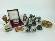 Selection of enamel trinket boxes including Limoges, Wind in the Willows characters and other animal