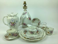 Selection of Royal Crown Derby tea ware including Derby Posies, and a table lamp with green shade