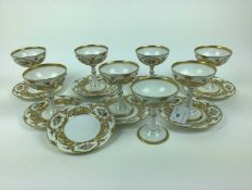 Eight Limoges Tiffany porcelain goblets and saucers