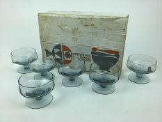 Set of six Whitefriars Arctic Blue sundae glasses in original box
