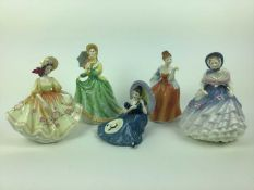 Five Royal Doulton figures - Elizabeth HN2946, Alice HN3368, Pensive Moments HN2704, Fleur HN2369 an