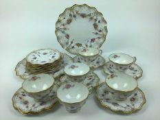 Good quality Royal Crown Derby tea set with gilt rim and floral decoration