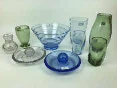 Six pieces of Whitefriars including Sapphire blue ribbon trailed bowl, 26.5cm diameter, Sapphire bl
