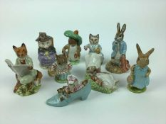 Five Beswick Beatrix Potter figures - Benjamin Bunny, Tabitha Twitchett, The Old Woman who lived in