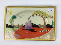 Clarice Cliff Royal Staffordshire The Biarritz Applique rectangular plate decorated with a lady in p