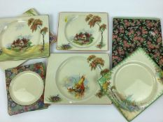Collection of Clarice Cliff Royal Staffordshire The Biarritz rectangular plates, decorated in variou