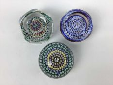 Three Whitefriars art glass paperweights with date canes for 1975, 1979 and 1985 (3)