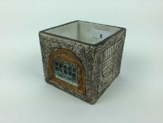 Cube shaped troika vase with Cornwall LG marked to base, 8.5cm high