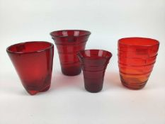 Three Whitefriars Ruby red ribbon trailed vases, 19cm, 18cm and 14cm