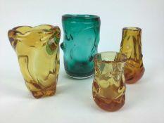 Whitefriars Aqua knobbly vase, 21.5cm high plus three Amber knobbly vases