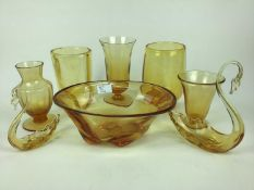 Fifteen pieces of Whitefriars Amber glass including vase with original sticker, 17cm high